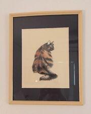 Vintage Watercolor Drawing CAT Framed Black & Brown Signed ART