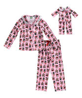 """Girl 4-12 and 18"""" Doll Matching Panda Winter Pajamas Outfit fit American Girl"""