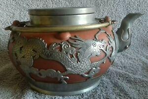 """Antique Qing Chinese Export Yixing Stoneware Pewter Mount Dragon Teapot 17cm 7"""""""