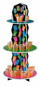 Amscan Neon Shot Glass (w OR w/o) 3 Tier Display Stand (Glows in Blacklight)