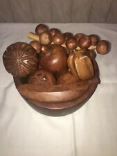 Vintage Carved Wood Fruit Bowl Mid Century Wooden 10 Piece