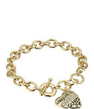 """NWT Guess Gold-tone Metal-Clear Stones Engraved Heart """"Grafitti"""" Toggle Bracelet"""