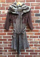 Elizabeth & James Brown Wool Sweater Coat Cardigan Tie Rabbit Fur * 1 Small S *