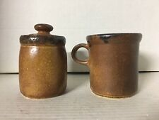 "Vintage McCoy Pottery ""Canyon Mesa"" Creamer #1412 and Sugar Bowl w/ Lid #1414"