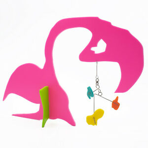 Pink Flamingo Art Stabile by Atomic Mobiles - Modern Abstract Animal Sculpture