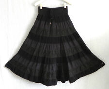 Lapis Skirt Black Corduroy/Lace Maxi Swing Elastic Band Waist Size M