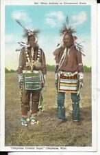 sioux indians in ceremonial dress,cheyenne wyoming postcard 1940s era
