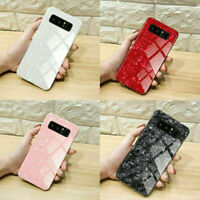 Case For Samsung S10 S9 S8 Plus Luxury Marble Tempered Glass Hard Phone Cover