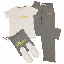 Wedding T-Shirt & Trousers Pyjamas Set Hen Do Party Night Bride To Be Bridesmaid