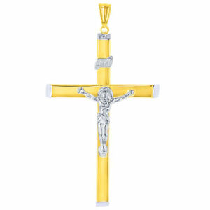 14K Two-Tone Gold Religious Cross Crucifix with Jesus Christ Pendant