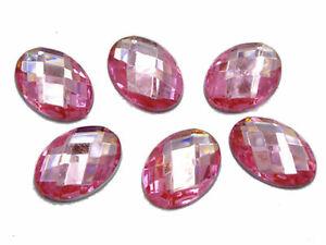 500 Flatback Acrylic Rhinestone Faceted Oval Gem Beads 13X18mm No Hole Wholesale