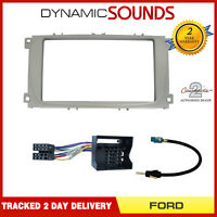 Silver Stereo Double Din Fascia Fitting Kit for Ford Mondeo Focus S-Max 2007>