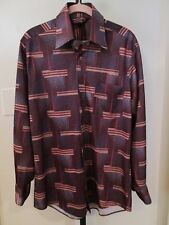Vintage Kingsport Disco Leisure Suit Shirt Slinky Polyester Brown Print Size M