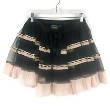 Funhouse women's Retro Rockabilly black pink tulle layered pettiskirt tutu skirt