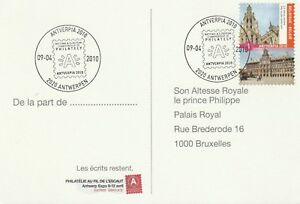 """2010 Belgium card sent from Antverpia to Bruxelles """"National Championships..."""