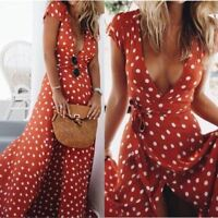robe lunaires rouge Eté à Pois Boho Soirée Party Beach Robe d'Eté Maxi Dress