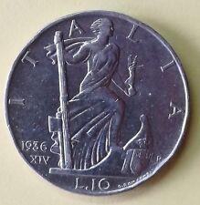 VITTORIO EMANUELE III REGNO D'ITALIA 10 LIRE 1936 IMPERO QSPL ARGENTO