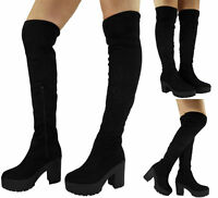 WOMENS LADIES THIGH HIGH OVER THE KNEE BOOTS CHUNKY HEEL STRETCH PLATFORM SIZE