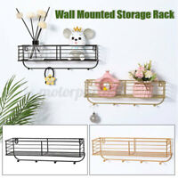 Wall Mounted Shelf Wire Rack Storage shelves W/ Hook Basket Key Hanging Hanger