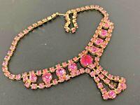 "Vintage Juliana Pink Rhinestone Gold tone Necklace 14"""