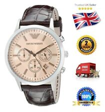 NEW Emporio Armani AR2433 Classic Men's Gents Brown Leather Chronograph Watch