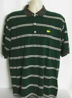 Masters Collection Augusta Green Stripe Golf Polo Shirt Cotton Mens Large