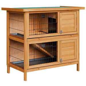 Rabbit Hutch Cage Guinea Pig Hinged Lid Stand Fir Wood 2 Storey Wooden Pet Home