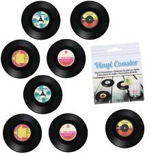Vinyl-Untersetzer-Set im coolen Schallplatten-Design Ø ca. 11 cm - 8-teilig