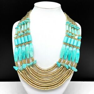 Chico's Turquoise Beaded Statement Bib Necklace Gold Tone Multi Strand Chain