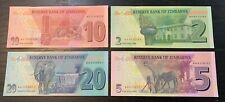 ZIMBABWE 2019 - 2020 NEW 2, 5, 10 and 20 dollar BANKNOTE set  UNC ......