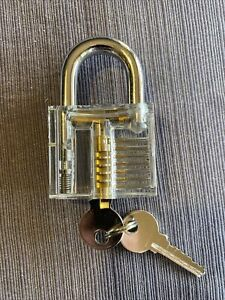 Cutaway Padlock Lock Practice Learning Training Skill for Locksmith W/ 2 Key