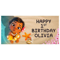 Baby Moana Birthday Banner Personalized Party Decoration