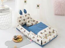 New Baby Sleeper Portable Cotton Lounger and Co-Sleeper - Blue Teddy Bear
