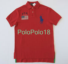 New Polo Ralph Lauren Big Pony USA Mesh Shirt Red Custom S