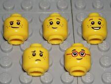 LEGO CHILDREN HEADS - 5 Yellow MINIFIGURE Boy Girl KID FRECKLE FACES