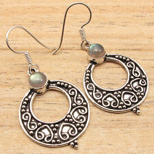 Earrings One Of A Kind Gift 925 Silver Overlay Labradorite Retro Style Oxidized
