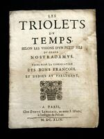 1649 THE TRIOLETS OF TIME by the Younger Son of the GREAT NOSTRADAMUS