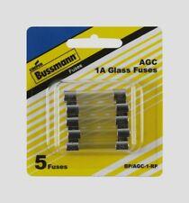 5pk Bussmann Buss Fuses BP/AGC-1-RP, 1 Amp AGC Glass Fuse Mini Automotive NEW!!!