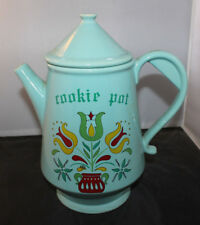 Vintage McCoy Pottery USA Pitcher Cookie Jar Turquoise Flower Pattern