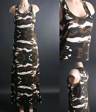 SEXY CAMOUFLAGE PATTERN MILITARY TANK LONG MAXI DRESS L