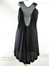 New Ladies Womens Black Sequinned Sleeveless Stretch Dress Top - size 16