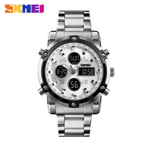 SKMEI Men Quartz Watch Outdoor Sport Digital Stainless Steel Wristwatch 1389 EA