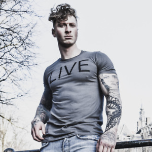 Charcoal LIVE Tshirt Size S,M,L,XL - Superdry, sik silk, gym king, bee inspired