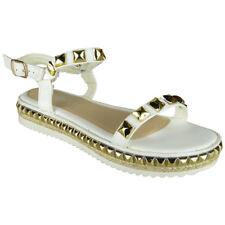 Womens Ladies Platform Peeptoe Flatform Bling Studs Shoes Wedge Sandals Sizes
