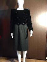 Valentino Boutique Vintage - Black Velvet Dress size 10 - Pre-Owned (black/grey)