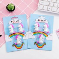 3Pcs Unicorn Eraser Toy Horse Animal Pencil Removable Rubber School Supplies Hot