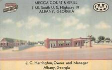 MECCA COURT & GRILL U.S. HIGHWAY 19 ALBANY GEORGIA AD AAA POSTCARD (c. 1940s)