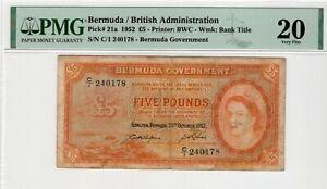 1952 Bermuda 5 Pound P21a PMG 20 Very Fine