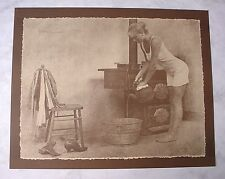 R HENDRICKSON Unframed LARGE 16x20 Sepia Print COUNTRY WOMAN BATH TIME Pin Up A
