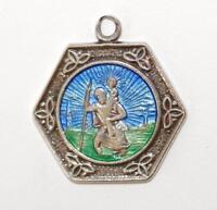 Saint Christopher Medal Sterling Silver Enamel Charm Pendant 4.1g